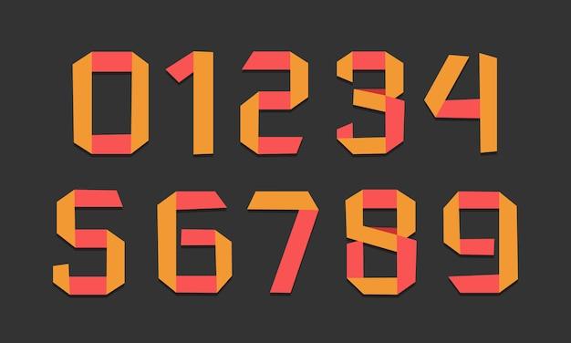Números de fonte de dobra de papel amarelo criativo