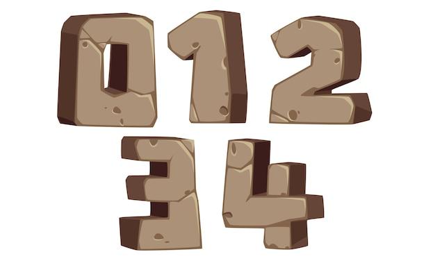 Números de fonte em estilo de pedra 0, 1, 2, 3, 4