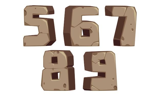 Números de fonte em estilo de pedra 5, 6, 7, 8, 9