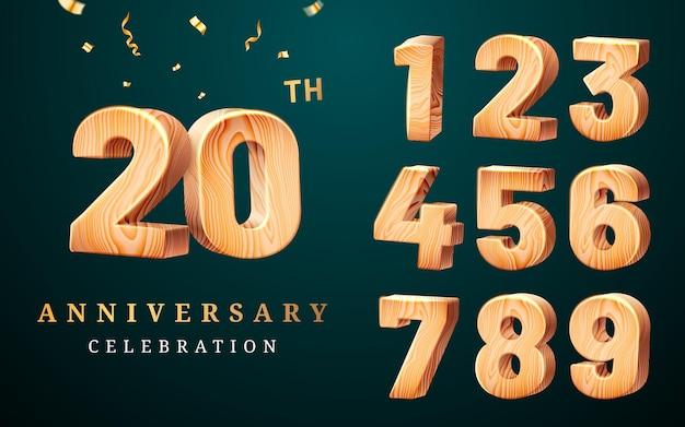 Números de madeira e saudações para o 20º aniversário com confete