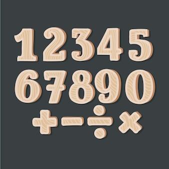 Números de madeira -