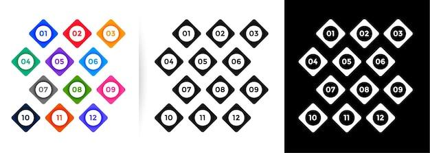 Números de marcadores em estilo de botão