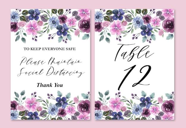 Números de mesa de casamento com ornamentos florais em aquarela azul e roxo
