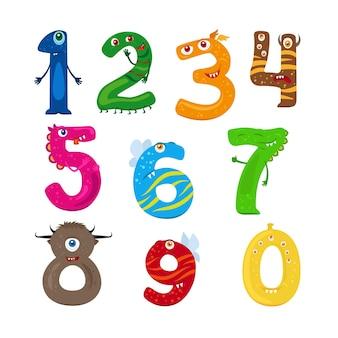 Números de monstro. números engraçados de crianças