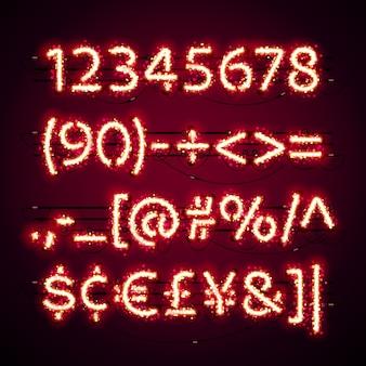 Números de néon vermelho brilhante com glitter no escuro