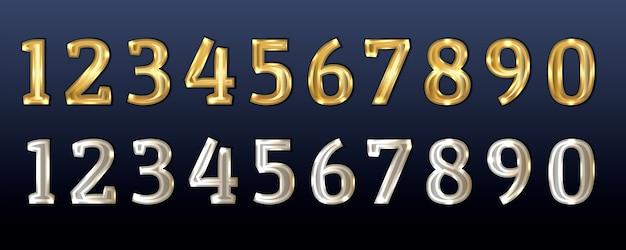 Números de ouro e prata figuras de ouro branco design para aniversário, aniversário, natal e outras datas festivas realistas