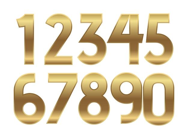 Números de ouro metal dourado moda alfabeto ilustrações realistas de texto