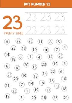 Números de pontos. número vinte e três. jogo educativo de matemática para crianças.