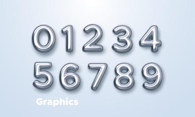 Números de prata 3d realistas isolados