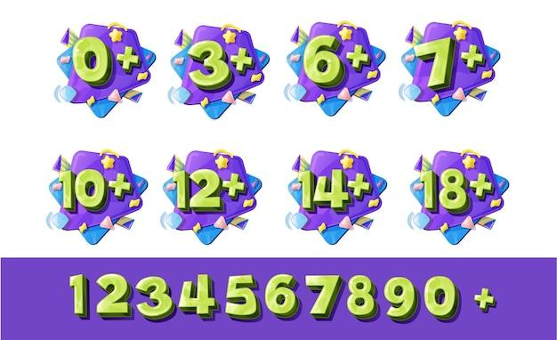 Números de restrição de idade, sinais de zero a nove