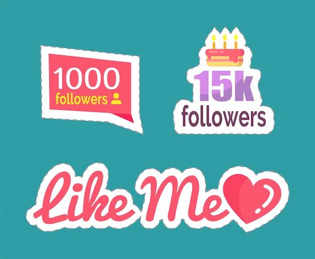 Números de seguidores como eu e conjunto de bolos