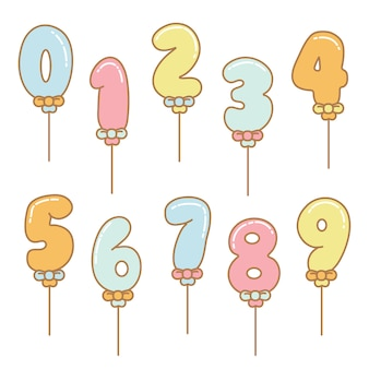 Números de vetor de balão dos desenhos animados