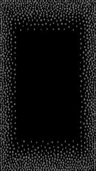 Números decrescentes, conceito de big data. dígitos binários de vôo brancos. banner futurista mesmérico em fundo preto. ilustração vetorial digital com números decrescentes.