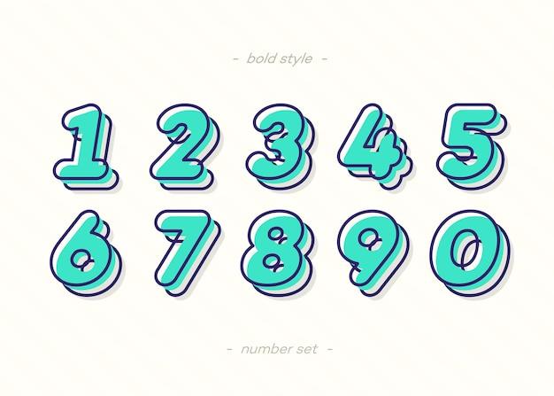 Números definem estilo de cor de tipografia em negrito 3d