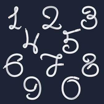 Números definem logotipos formados por cabos elétricos.