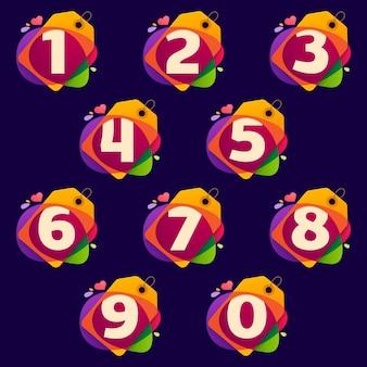 Números definem logotipos na etiqueta de venda, coração e salpicos no preto