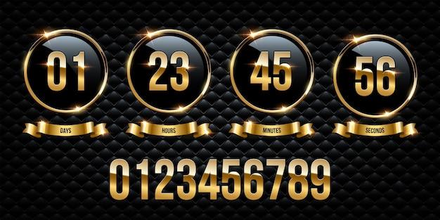 Números dentro de anéis dourados e fitas em fundo preto