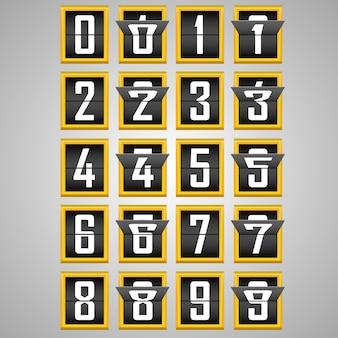Números do alfabeto placar mecânico. ilustração vetorial