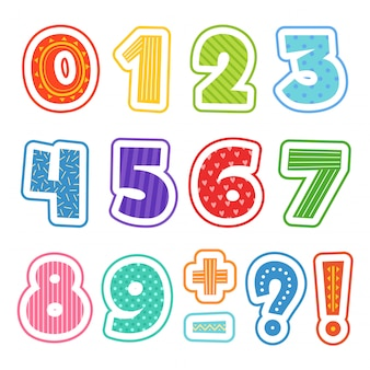 Números dos desenhos animados, alfabeto divertido colorido para escola crianças texto clipart setisolated