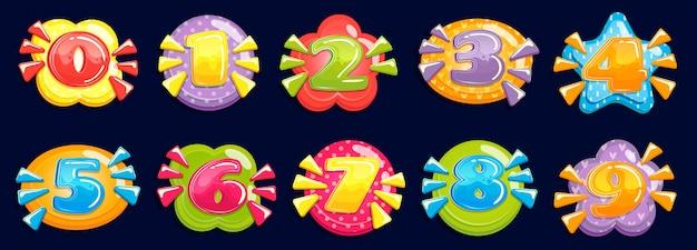 Números dos desenhos animados. número gordinho engraçado, anos de cartão de aniversário de criança coloridos e número no conjunto de ilustração de moldura colorida
