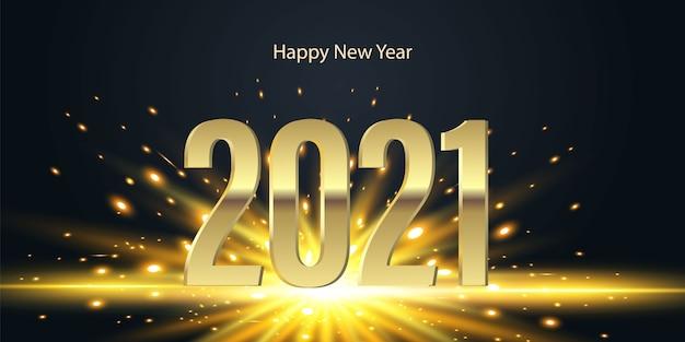 Números dourados 2021 com flash brilhante em fundo preto. feliz ano novo