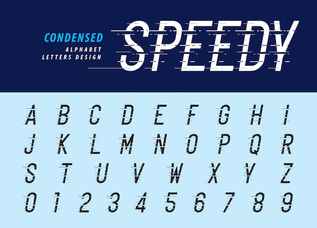 Números e alfabeto de estilo de falha