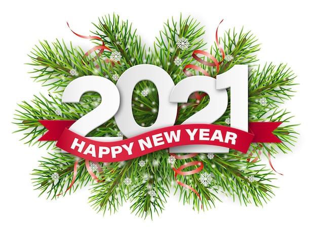 Números e fita vermelha com texto de feliz ano novo em fundo de galhos de árvore de natal.
