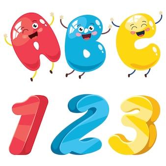 Números e letras dos desenhos animados