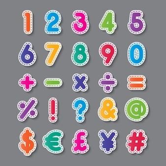 Números e símbolos de cores