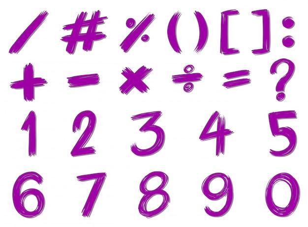 Números e sinais em cor roxa