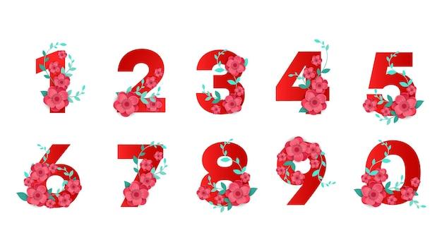 Números ecológicos florais lindos