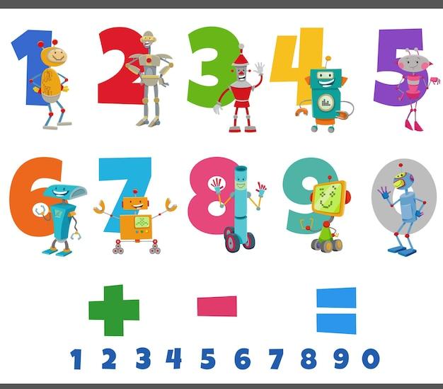 Números educacionais com personagens engraçados de robôs