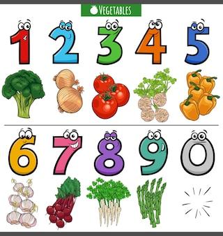 Números educacionais de desenhos animados com vegetais