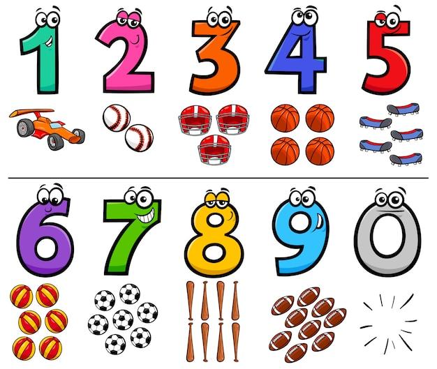 Números educacionais dos desenhos animados conjunto com objetos de esporte