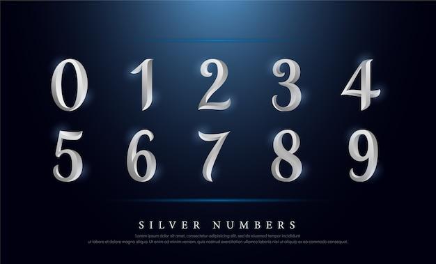 Números elegantes prata colorido metal chrome alfabeto fonte