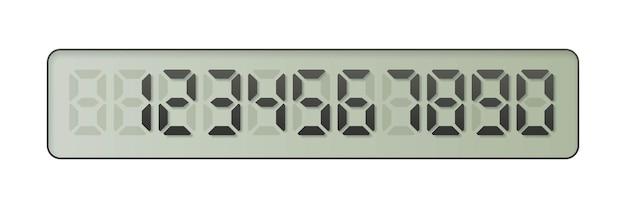 Números eletrônicos de um a zero na tela digital