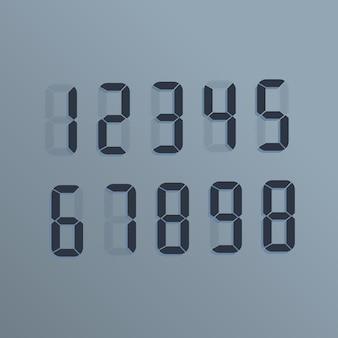 Números eletrônicos realistas. o mostrador na tela