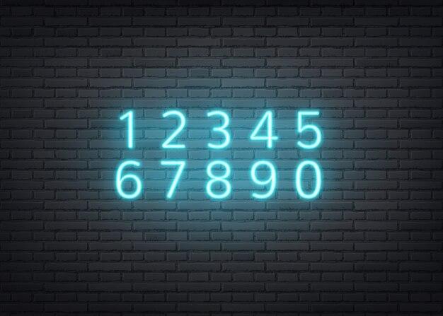 Números em azul néon no fundo da parede de tijolo escuro