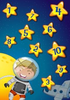 Números em estrelas com astronauta voando no espaço