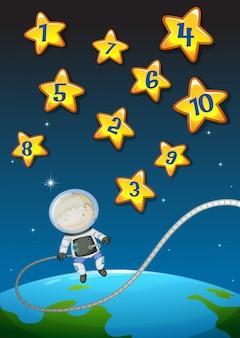 Números em estrelas e astronautas voando