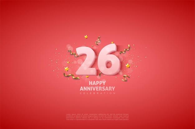 Números em ilustração branca suave para o 26º aniversário