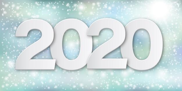 Números em papel feliz ano novo 2020