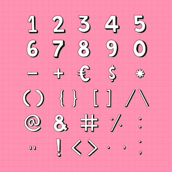 Números estilizados e conjunto de símbolos