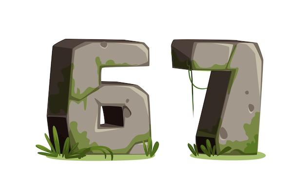 Números feitos de pedra para a selva