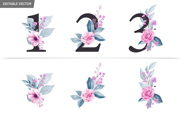Números florais com aquarela flores e folhas de decoração