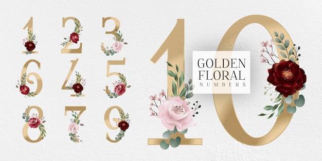 Números florais dourados da borgonha