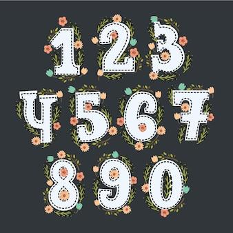 Números florais fofos com decoração em cores vintage