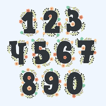 Números florais fofos com decoração. números feitos de flores e em cores vintage.
