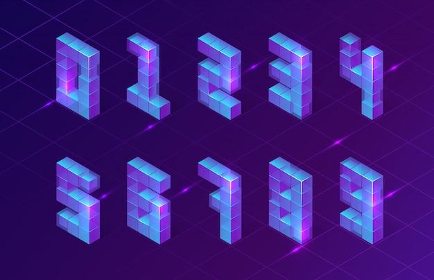 Números roxos isométricos feitos de cubos 3d