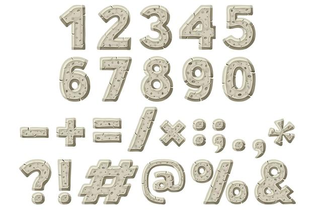 Números sinais de pontuação idade da pedra